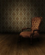 grungy vintage interior scene with classic armchair