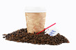 Coffee To Go Cup in Coffee Beans on White