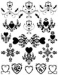 Hearts Floral Scroll Set