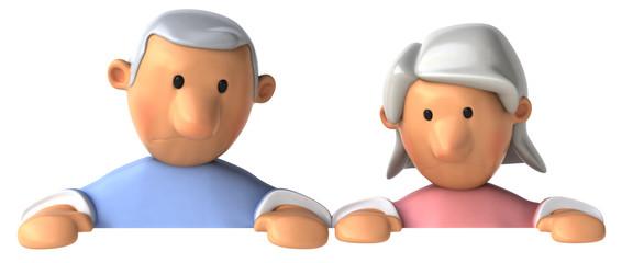 Couple senior et panneau blanc