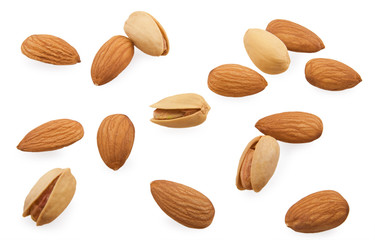 Almonds and pistachios are scattered