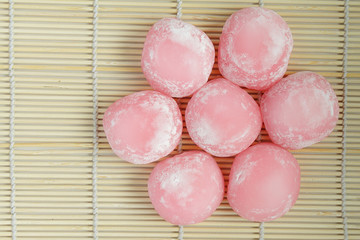 View from above on group of pink japanese rice cakes