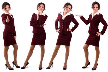 Brunette businesswoman dressed in redk suit.