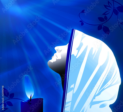 praying in blue light