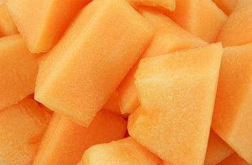 Freshly cut cantaloupe melon