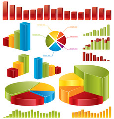 Diagrams, set of glossy vector icons for your business reports.