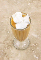 Diet butterscotch pudding with sugar free whipped cream