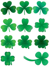 Set of clovers for St. Patrick`s day, vector illustration