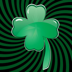Glass clover for St. Patrick`s day, vector illustration