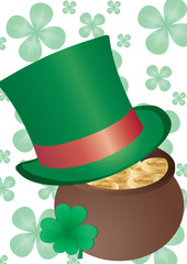 Vector background with Top Hat and four-leafed clover
