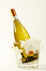 White wine in a crystal ice bucket