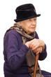 Leinwanddruck Bild - The sad old lady isolated on white background