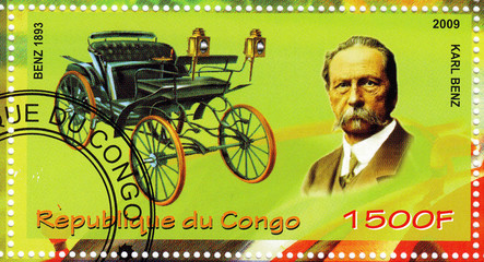 stamp showing Karl Benz vs car