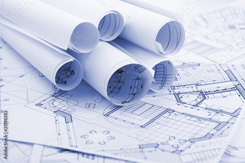 rolls of architecture plans - blueprints