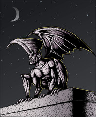 Gargoyle at night