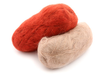 two skeins of wool (mohair)