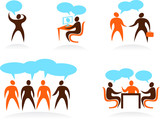 Collection of abstract people icons - cooperation and teamwork poster