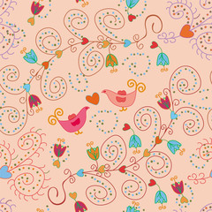 Seamless ornate pattern in pink colors