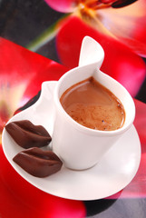 coffee with red chocolate lips