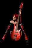 Fetish model with bass guitar poster