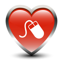 Heart Shape Mouse Sign Icon
