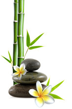 fleurs de frangipanier, galets zen et bambou