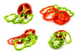 Set of four cut red and green bell peppers