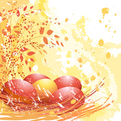 Easter red and yellow eggs