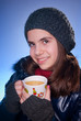 beauty girl with cup of tea