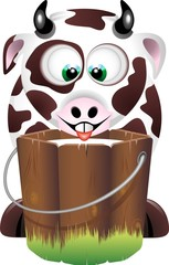 Mucca da Latte-Milk and Cow-Vache et Lait-Cartoon-Vector