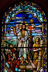 Stained glass church window depicting Jesus