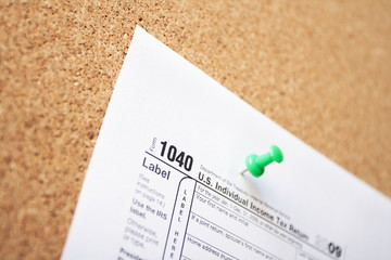 Finance concept with 1040 tax form
