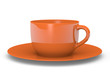 Orange cup with saucer