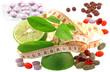 régime minceur : citron, nutriments, mètre... fond blanc