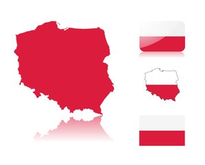 Polish map and flags