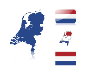 Dutch map and flags