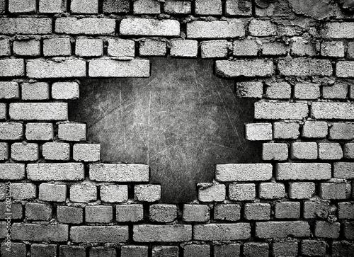 Fototapeta large hole on brick wall