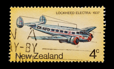 new zealand mail stamp featuring the lockheed electra aircraft