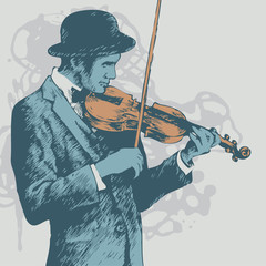background with violinist.