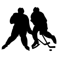 Two hockey players silhouettes duel. Vector illustration.