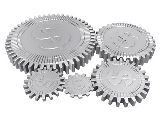 Five silver dollar gears