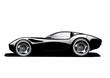 Schwarzer Sportwagen (weißer Hintergrund)