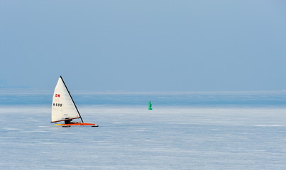Ice sailing in the Netherlands