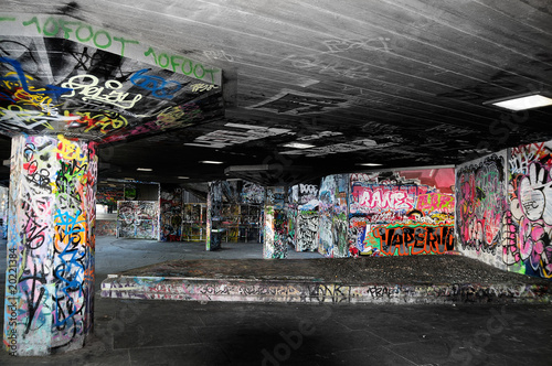 graffiti in derelict concrete urban location