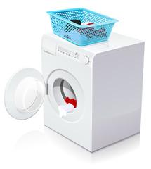 Lave-linge ouvert avec un panier à linge (reflet)