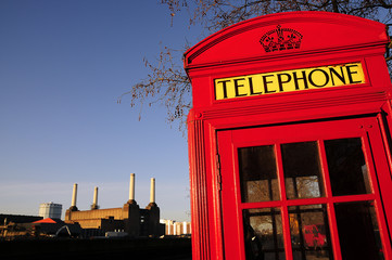 Battersea Power Station with red phone box