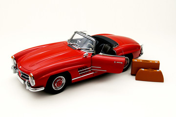 Model of a red classic car