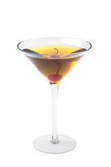 Rob Roy or Manahattan cocktailon a white background