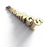 Growing golden earnings word - 3d render poster