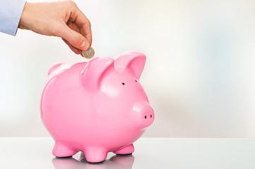 Ein Euro Münze mit Sparschwein